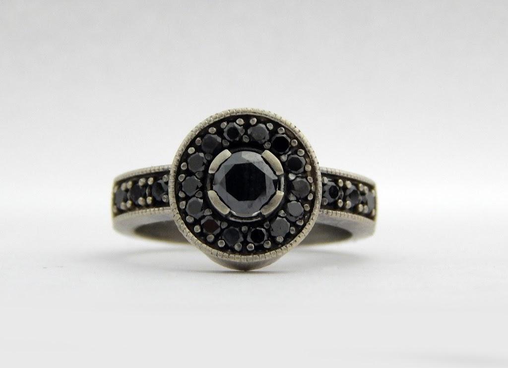 14k white gold and black diamonds